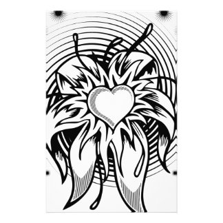 Flower Heart Tattoo Design with a spiral Customized Stationery