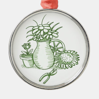 Flower Illustration Silver-Colored Round Decoration