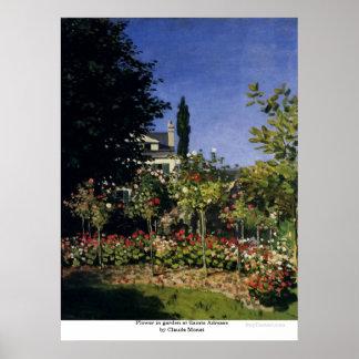 Flower in garden at Sainte Adresse by Claude Monet Poster
