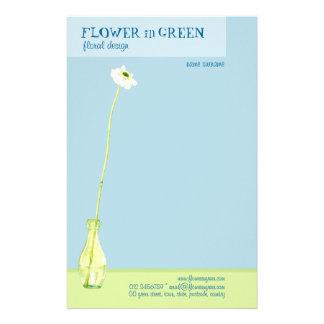 Flower in Green Stationery