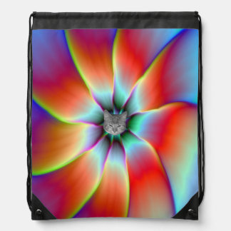 Flower in Red Orange and Yellow Drawstring Bag