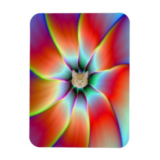 Flower in Red Orange and Yellow Rectangular Photo Magnet