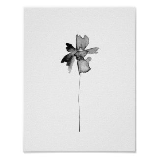 Flower ink lithograph print