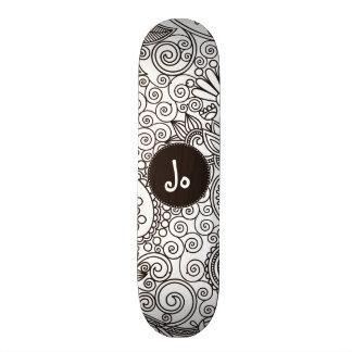 Flower Jungle White Skate Deck