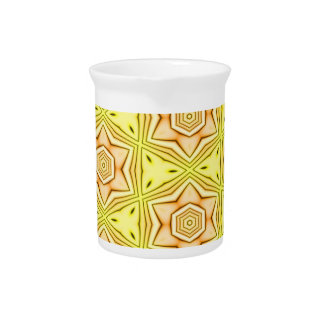 Flower kaleidoscope on yellow background pitcher