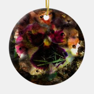 flower kittens round ceramic decoration
