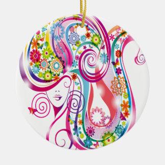 Flower Lady Round Ceramic Decoration