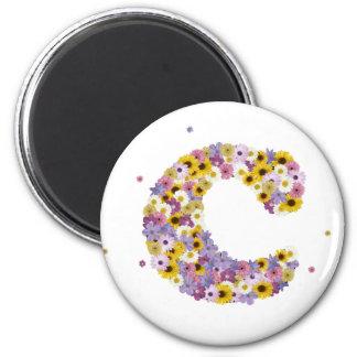 Flower letter C 6 Cm Round Magnet
