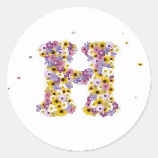 Flower letter H Round Sticker