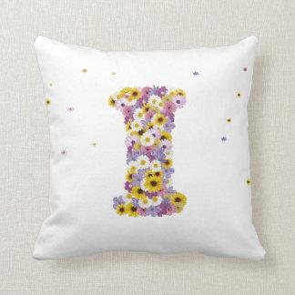 Flower letter I Throw Pillow