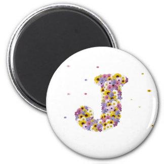 Flower letter J 6 Cm Round Magnet