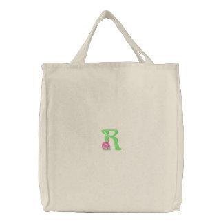 Flower Letter R Embroidered Bag