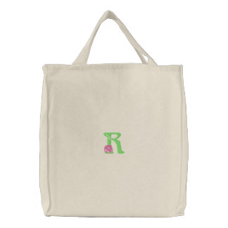 Flower Letter R Embroidered Tote Bags