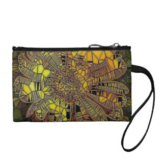 flower like yellow  glass mosaic coin wallets