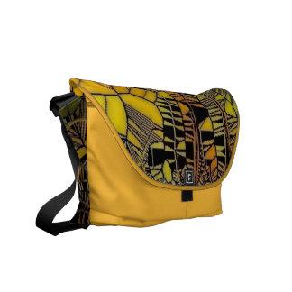 flower like yellow  glass mosaic messenger bags
