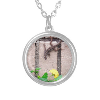 FLOWER LIZARD SILVER PLATED NECKLACE