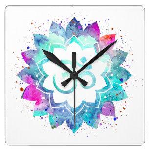 Lotus flower with sanskrit om symbol gifts on zazzle au flower lotus om aum symbol watercolor mandala square wall clock mightylinksfo
