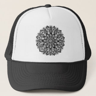 Flower Mandala black and white Cap