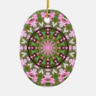 Flower Mandala, Bleeding Hearts 02.0_rd Ceramic Oval Decoration