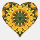 Flower-Mandala, California Poppies Heart Sticker