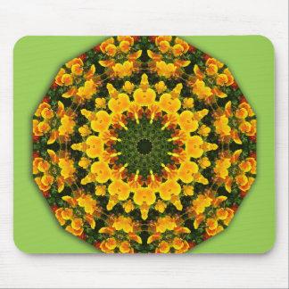 Flower-Mandala, California Poppies Mouse Pad
