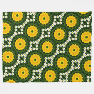 Flower-Mandala, Daisies 02.2 Fleece Blanket
