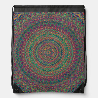 Flower mandala drawstring bag