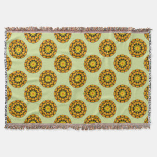 Flower-Mandala, golden poppies, Californian poppy Throw Blanket