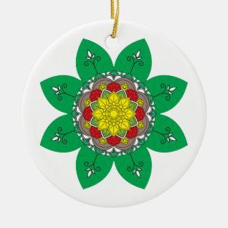 Flower Mandala green Vintage decorative elements. Ceramic Ornament