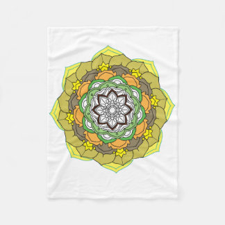 Flower Mandala in turquoise colors Fleece Blanket