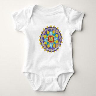 Flower Mandala  Infant Organic Creeper, Natural Shirt
