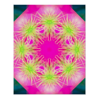 Flower Mandala pink and lime Poster