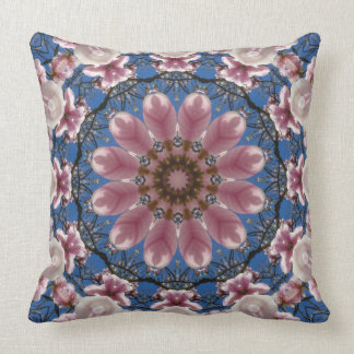 Flower Mandala, pink spring blossoms Throw Pillow