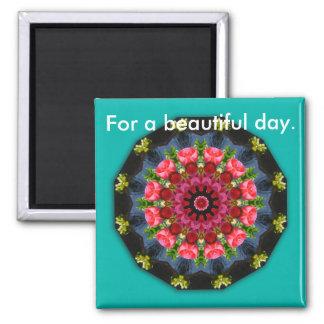 Flower-Mandala, spring blossoms Square Magnet