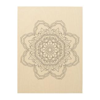 Flower Mandala. Vintage decorative elements. Orien Wood Print