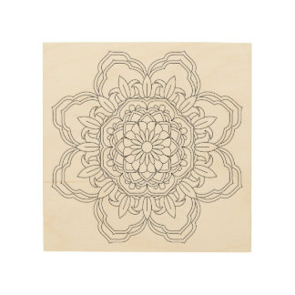 Flower Mandala. Vintage decorative elements. Orien Wood Print