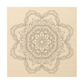 Flower Mandala. Vintage decorative elements. Orien Wood Wall Art