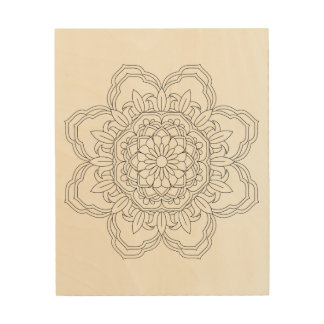 Flower Mandala. Vintage decorative elements. Orien Wood Wall Decor