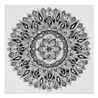 Flower mandala w/ seed of life poster