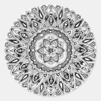 Flower mandala w/ seed of life round sticker