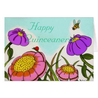 "Flower Meadow ""Happy Quinceanera"" Card"
