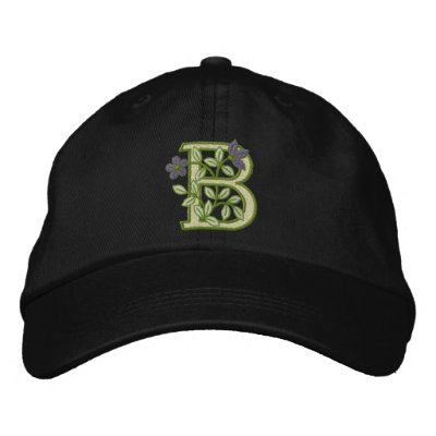 Flower Monogram Initial B Embroidered Hat