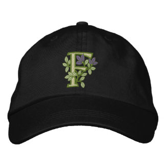Flower Monogram Initial F Embroidered Hat
