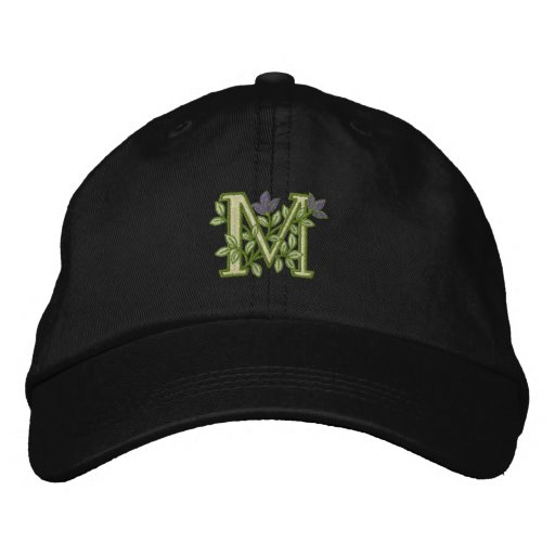 Flower Monogram Initial M Embroidered Hat
