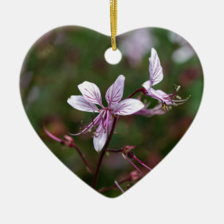 Flower of a burning bush ceramic heart decoration
