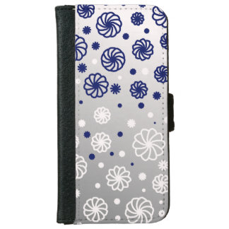 Flower of blue and white iPhone 6 wallet case