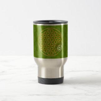 Flower OF Life 1 - gold stamp | green pattern Travel Mug