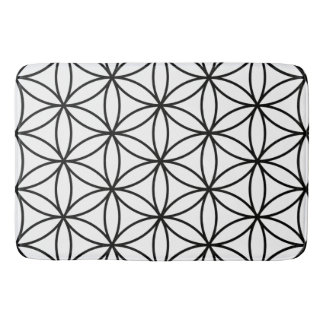 Flower of Life Big Pattern – Black on White Bath Mat