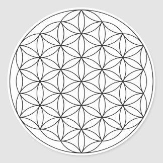 Flower of Life Black and White Round Sticker