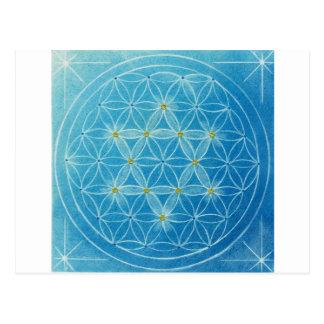 Flower of life ~ blue six 芒 star postcard